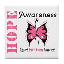 BreastCancer HopeButterfly Tile Coaster