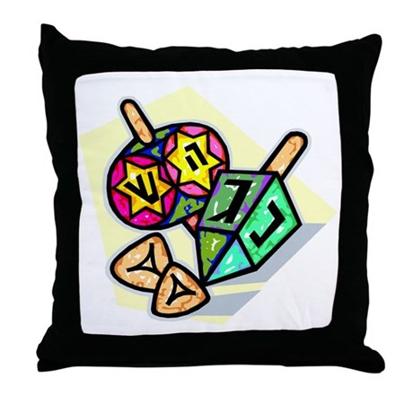 Jewish Dreidels Throw Pillow