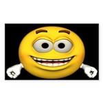 Smiley Face Rectangle Sticker 10 pk)