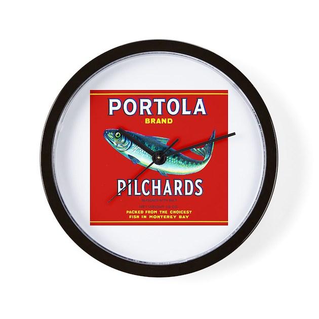 Portola Sardine Label 2 Wall Clock By Portola2