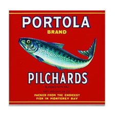 Portola Sardine Label 2 Tile Coaster