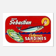 Sebastian Sardine Label Postcards (Package of 8)