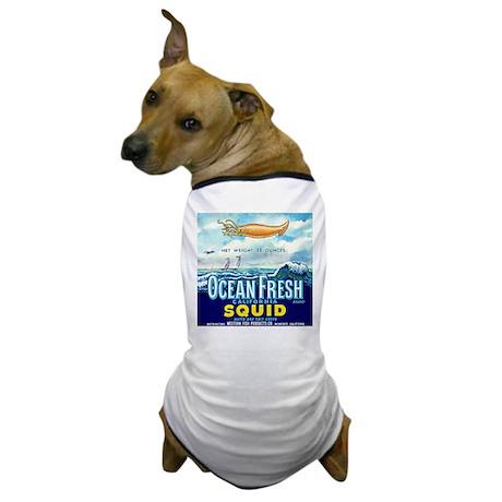 Vintage Squid Label 1 Dog T-Shirt