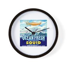 Vintage Squid Label 1 Wall Clock
