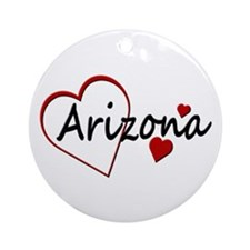 I Love Arizona Hearts Ornament (Round)