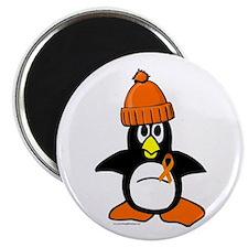 """Winter Penguin 1 Leukemia 2.25"""" Magnet (10 pack)"""