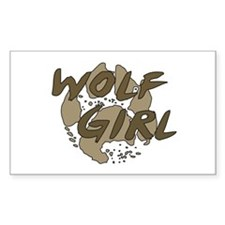 Wolf Girl Rectangle Decal