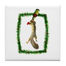 Holiday Squirrel with Beer Tile Coaster