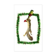 Holiday Squirrel with Beer Rectangle Decal