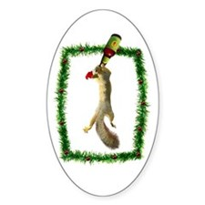Holiday Squirrel with Beer Oval Decal