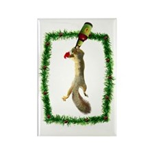 Holiday Squirrel with Beer Rectangle Magnet
