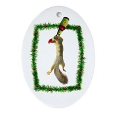Holiday Squirrel with Beer Oval Ornament