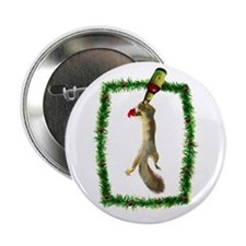 "Holiday Squirrel with Beer 2.25"" Button"