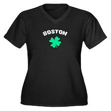 Boston Clover Women's Plus Size V-Neck Dark T-Shir