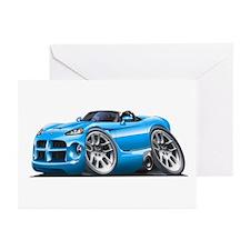 Viper Roadster Lt Blue Car Greeting Cards (Pk of 1