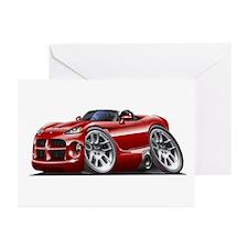 Viper Roadster Maroon Car Greeting Cards (Pk of 10