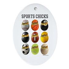 Sports Chicks Oval Ornament