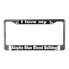 """Alpha Blue Blood Bulldog"" License Plate Frame"