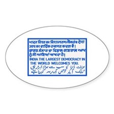 The Largest Democracy, India Oval Decal