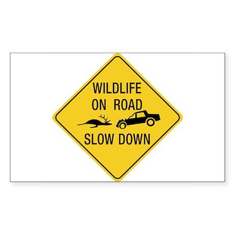 Wildlife On Road, Wyoming, US Rectangle Sticker