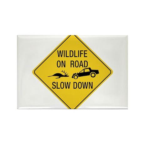 Wildlife On Road, Wyoming, US Rectangle Magnet (10