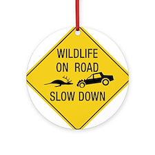 Wildlife On Road, Wyoming, US Ornament (Round)
