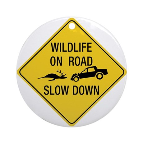 Wildlife On Road, Wyoming, US Ornament (Round)