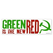 Green is the New Red, big Hammer & Sickle Bumper Sticker