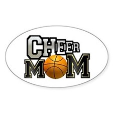 Cheer Mom (basketball) Oval Decal
