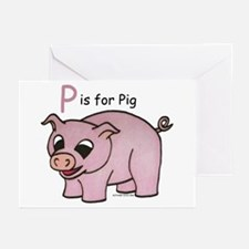 P is for Pig Greeting Cards (Pk of 20)