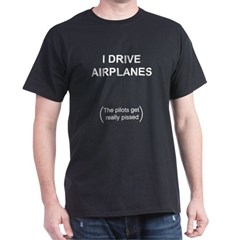 Airplane unpilot Black T-Shirt