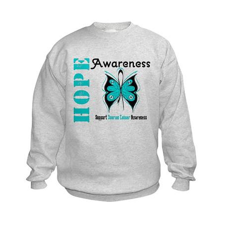 Ovarian Cancer Butterfly Kids Sweatshirt
