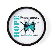Ovarian Cancer Butterfly Wall Clock