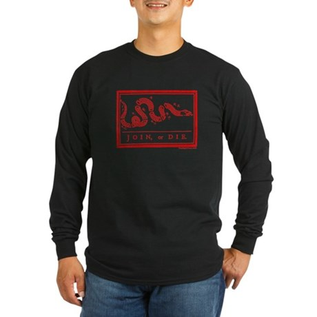 Join Or Die Ben Franklin Long Sleeve Dark T-Shirt