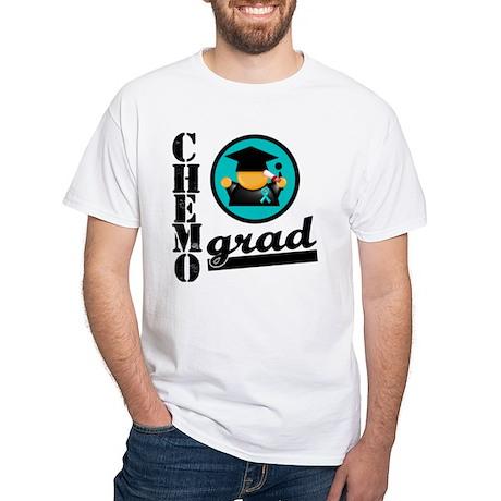 Ovarian Cancer Chemo Grad White T-Shirt