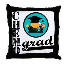 Ovarian Cancer Chemo Grad Throw Pillow
