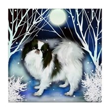 Japanese Chin Winter Night Tile Coaster