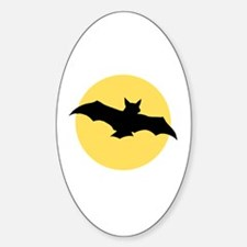 Yellow Moon and Bat Halloween Oval Decal