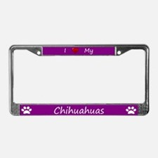 Purple I Love My Chihuahuas License Plate Frame