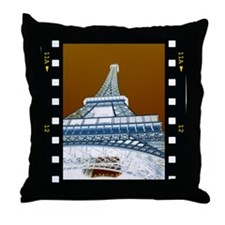 Eiffel Tower Negative Throw Pillow
