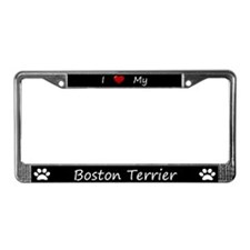 Black I Love My Boston Terrier License Plate Frame