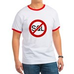 """No SQL"" Ringer Shirt, Black and Red"