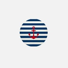 Red Anchor on Navy Blue Stripes Mini Button