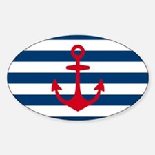 Red Anchor on Navy Blue Stripes Sticker (Oval)