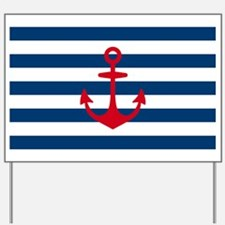 Red Anchor on Navy Blue Stripes Yard Sign