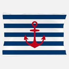 Red Anchor on Navy Blue Stripes Pillow Case