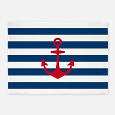 Red Anchor on Navy Blue Stripes 5'x7'Area Rug