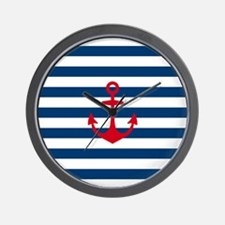 Red Anchor on Navy Blue Stripes Wall Clock