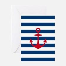 Red Anchor on Navy Blue Stripes Greeting Card