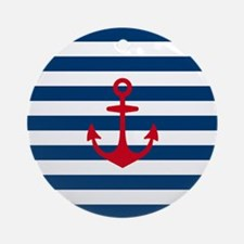 Red Anchor on Navy Blue Stripes Round Ornament